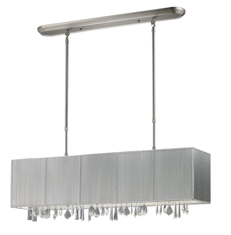 4-Light Brushed Nickel Billiard with Silver Silk String Shade