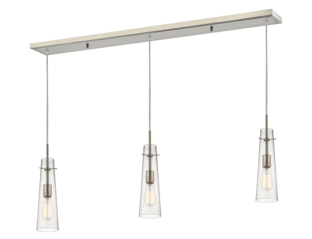 Filament Design 3-Light Brushed Nickel Billiard with Clear Seedy Glass - 46 inch