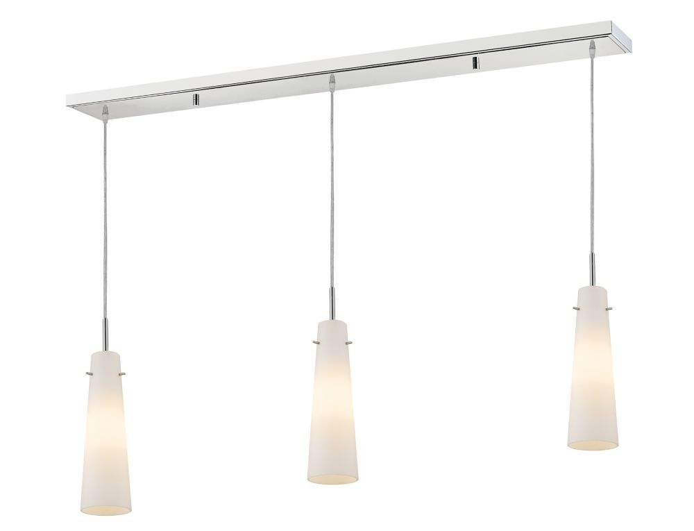 Filament Design 3-Light Chrome Billiard with Matte Opal Glass - 46 inch