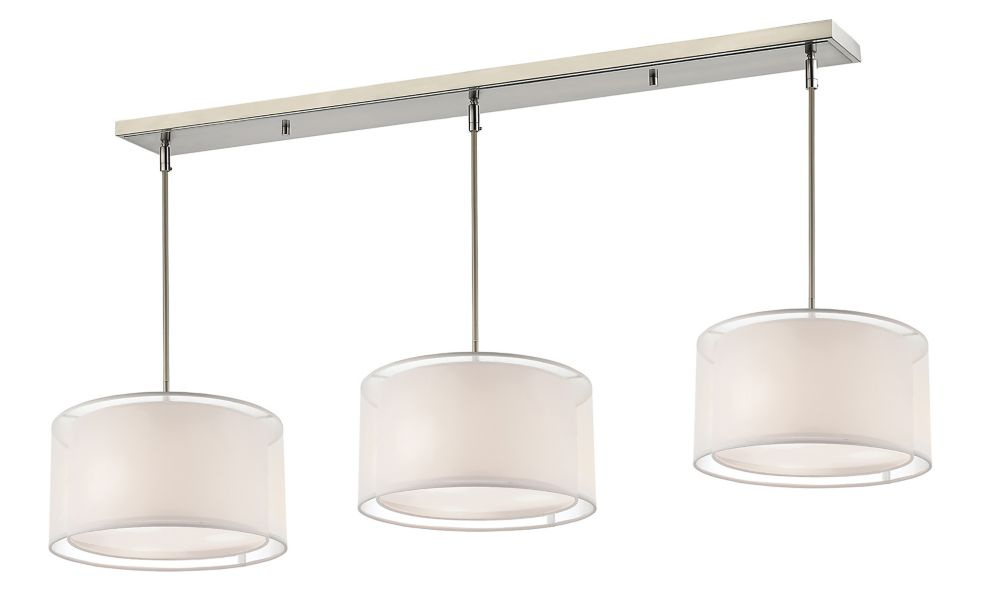 9-Light Brushed Nickel Billiard with White and White Organza Shade