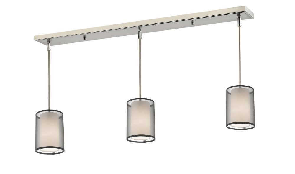 Filament Design 3-Light Brushed Nickel Billiard with Black and White Organza Shade
