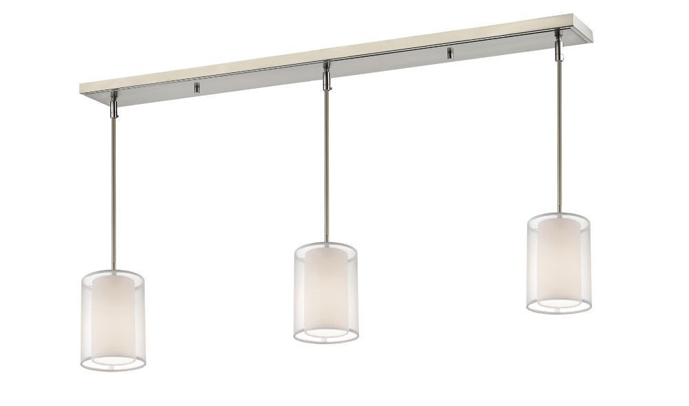 Filament Design 3-Light Brushed Nickel Billiard with White and White Organza Shade