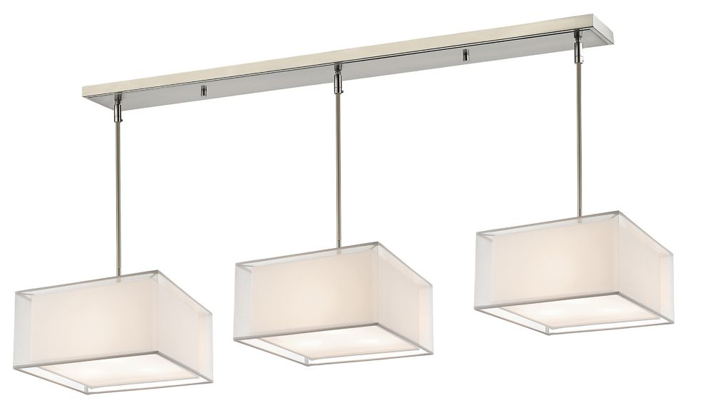 9-Light Brushed Nickel Billiard with White and White Organza Shade - 57 inch