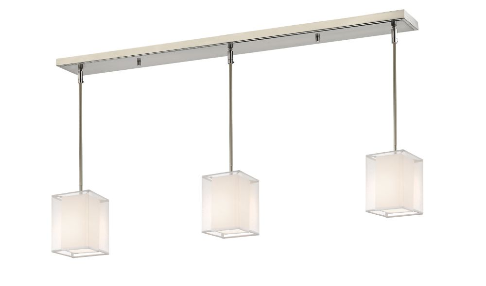 3-Light Brushed Nickel Billiard with White and White Organza Shade - 48 inch