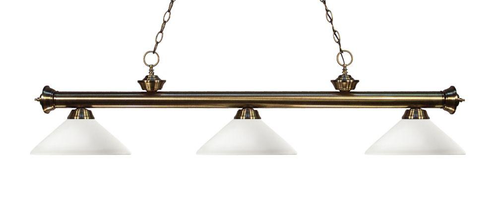 Filament Design 3-Light Antique Brass Billiard with Matte Opal Glass