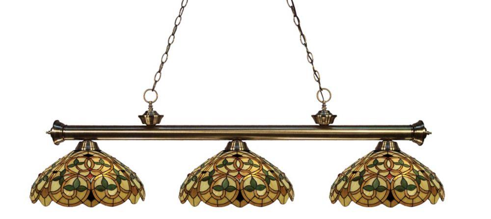 3-Light Antique Brass Island/Billiard with Tiffany Glass
