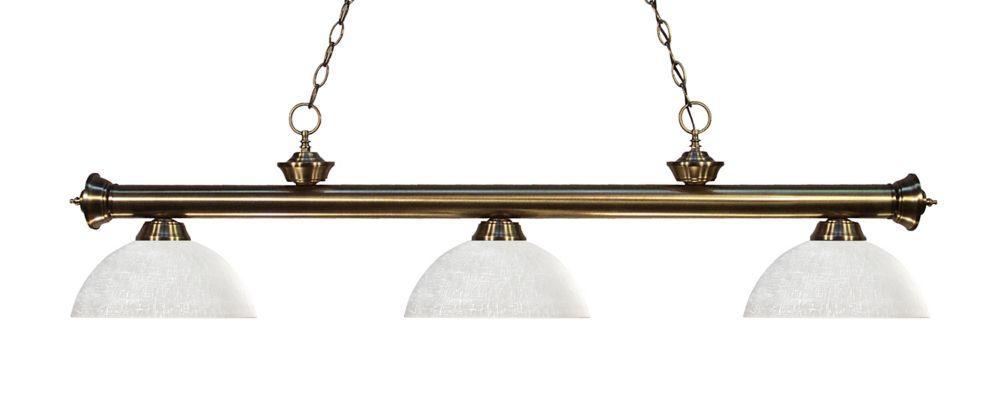 Filament Design 3-Light Antique Brass Billiard with White Linen Glass - 57 inch
