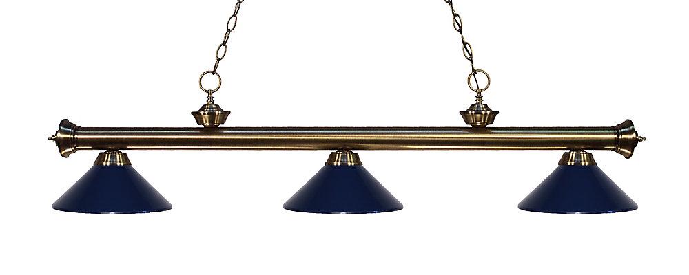 3-Light Antique Brass Island/Billiard with Navy Blue Steel Shade - 57 inch