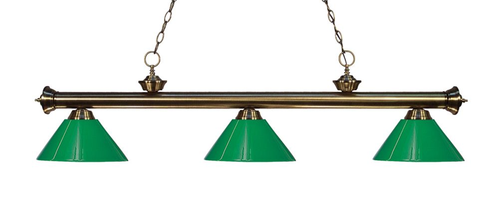 Filament Design 3-Light Antique Brass Island/Billiard with Green Plastic - 57 inch