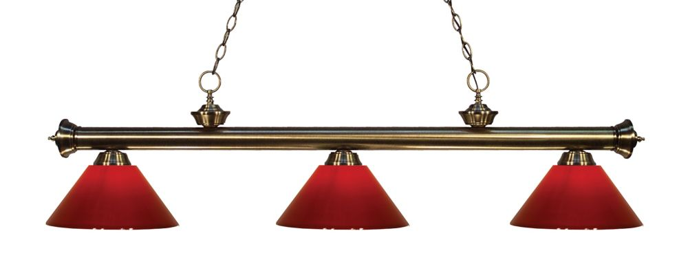 3-Light Antique Brass Island/Billiard with Red Plastic - 57 inch