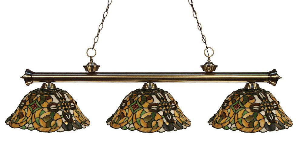 Filament Design 3-Light Antique Brass Billiard with Tiffany Glass Shades