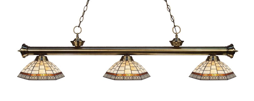 Filament Design 3-Light Antique Brass Island/Billiard with Multi Colored Tiffany Glass