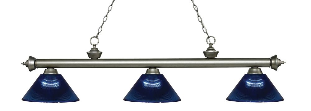 Filament Design 3-Light Antique Silver Island/Billiard with Dark Blue Acrylic Shade - 57.25 inch