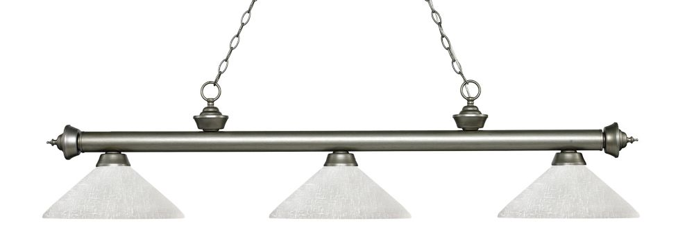Filament Design 3-Light Antique Silver Island/Billiard with White Linen Glass - 56.75 inch