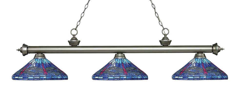 Filament Design 3-Light Antique Silver Billiard with Multi Colored Tiffany Glass - 60 inch