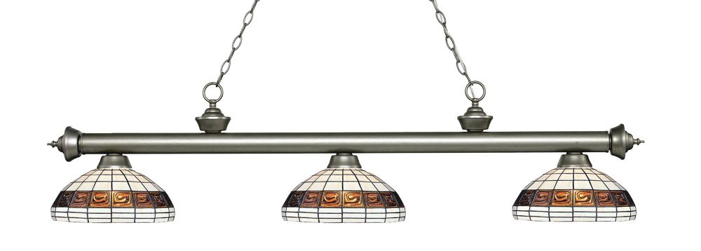 Filament Design 3-Light Antique Silver Island/Billiard with Multi Colored Tiffany Glass
