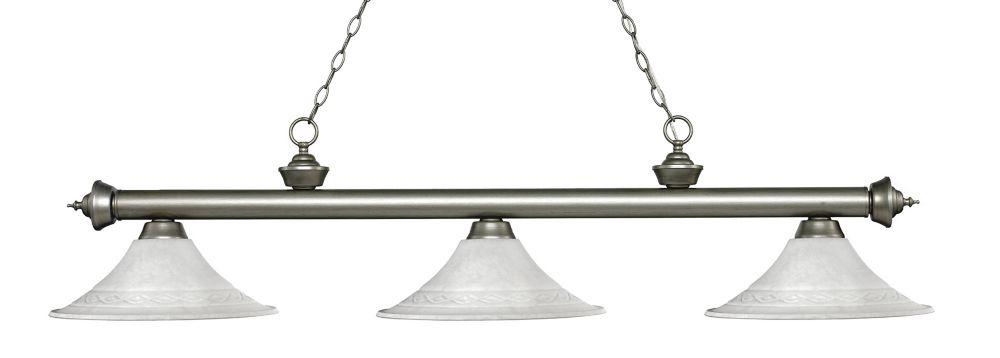 Filament Design 3-Light Antique Silver Island/Billiard with White Mottle Glass - 59.5 inch
