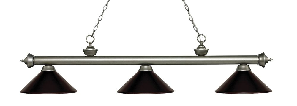 Filament Design 3-Light Antique Silver Island/Billiard with Bronze Steel Shade - 57.25 inch