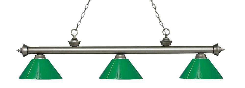 Filament Design 3-Light Antique Silver Island/Billiard with Green Plastic - 57 inch