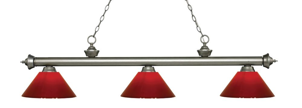 Filament Design 3-Light Antique Silver Island/Billiard with Red Plastic - 57 inch
