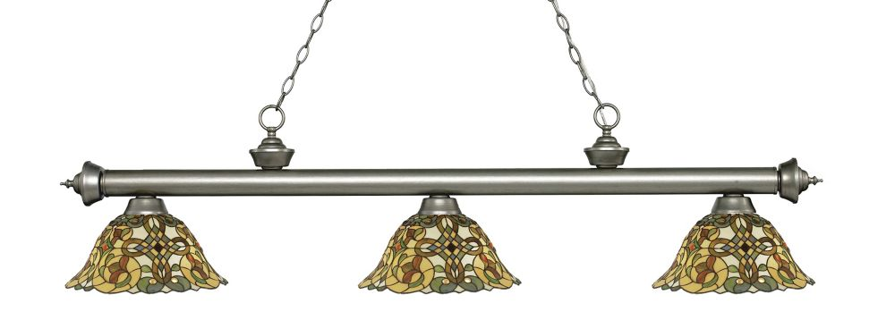 Filament Design 3-Light Antique Silver Billiard with Tiffany Glass - 57 inch
