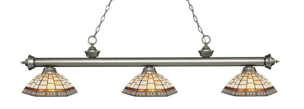Filament Design 3-Light Antique Silver Island/Billiard with Multi Colored Tiffany Glass - 57.25 inch