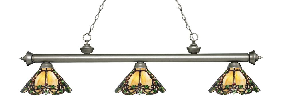 3-Light Antique Silver Island/Billiard with Multi Colored Tiffany Glass - 57 inch