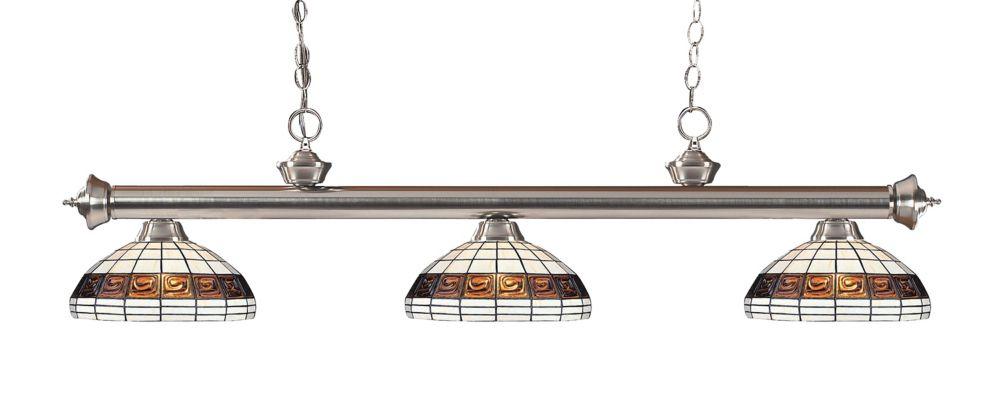 3-Light Brushed Nickel Island/Billiard with Tiffany Glass