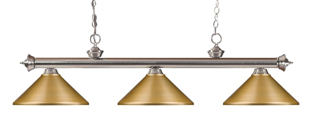 Filament Design 3-Light Brushed Nickel Island/Billiard with Satin Gold Steel Shade - 57 inch