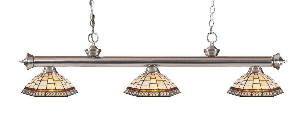 Filament Design 3-Light Brushed Nickel Dimmable Island Light with Tiffany Glass - 57 inch