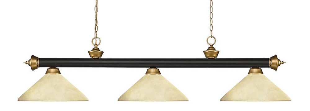 Filament Design 3-Light Bronze and Satin Gold Dimmable Island/Billiard with Golden Mottle Glass