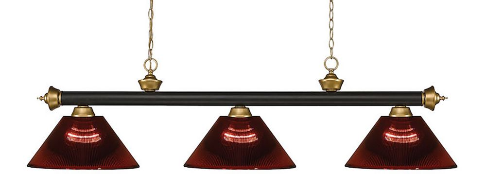 Filament Design 3-Light Bronze and Satin Gold Island/Billiard with Burgundy Acrylic Shade - 57 inch