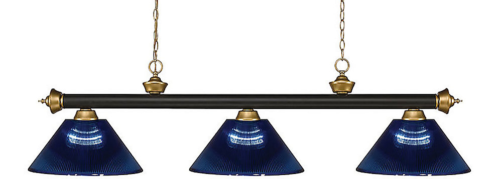 3-Light Bronze and Satin Gold Island/Billiard with Dark Blue Acrylic Shade - 57 inch