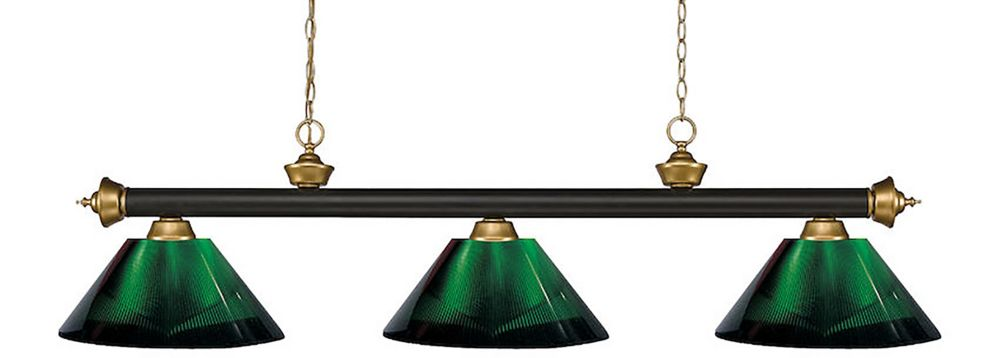Filament Design 3-Light Bronze and Satin Gold Island/Billiard with Green Acrylic Shade - 57 inch