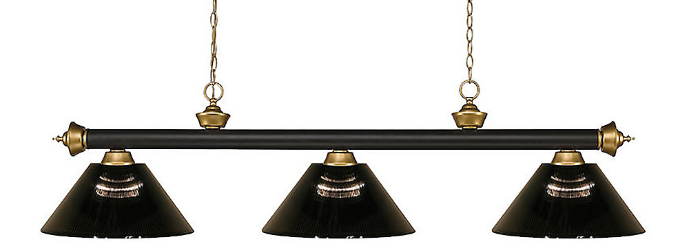 3-Light Bronze and Satin Gold Island/Billiard with Smoke Acrylic Shade - 57 inch