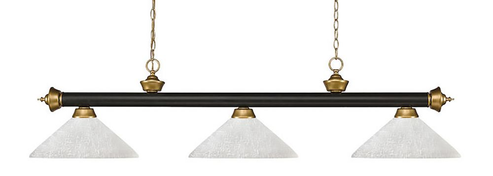 Filament Design 3-Light Bronze and Satin Gold Dimmable Island/Billiard with White Linen Glass