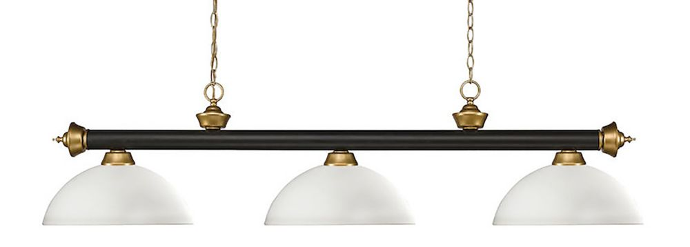 3-Light Bronze and Satin Gold Island/Billiard with Matte Opal Glass - 57 inch