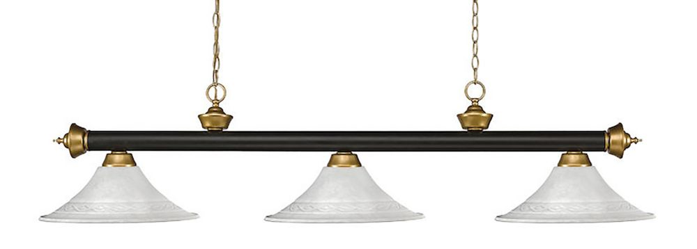 Filament Design 3-Light Bronze and Satin Gold Dimmable Island/Billiard with White Mottle Glass - 59 inch