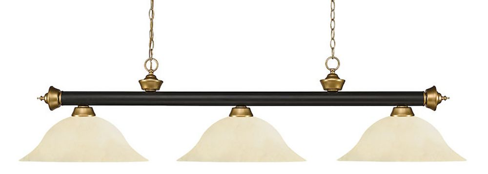 Filament Design 3-Light Bronze and Satin Gold Island/Billiard with Golden Mottle Glass - 59 inch