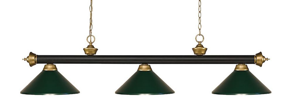 3-Light Bronze and Satin Gold Island/Billiard with Dark Green Steel Shade - 57 inch