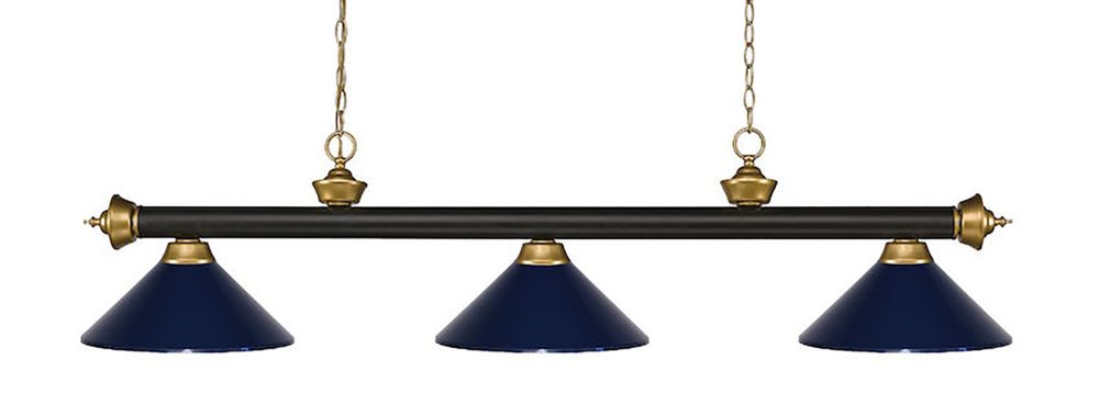 Filament Design 3-Light Bronze and Satin Gold Island/Billiard with Navy Blue Steel Shade - 57 inch