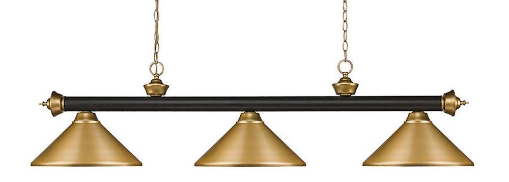 3-Light Bronze and Satin Gold Island/Billiard with Satin Gold Steel Shade - 57 inch