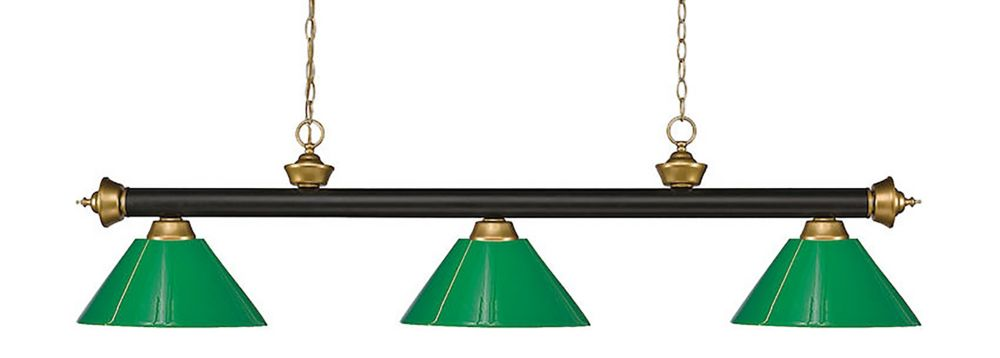 Filament Design 3-Light Bronze and Satin Gold Island/Billiard with Green Plastic - 57 inch