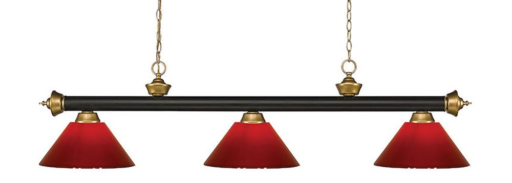 Filament Design 3-Light Bronze and Satin Gold Island/Billiard with Red Plastic - 57 inch