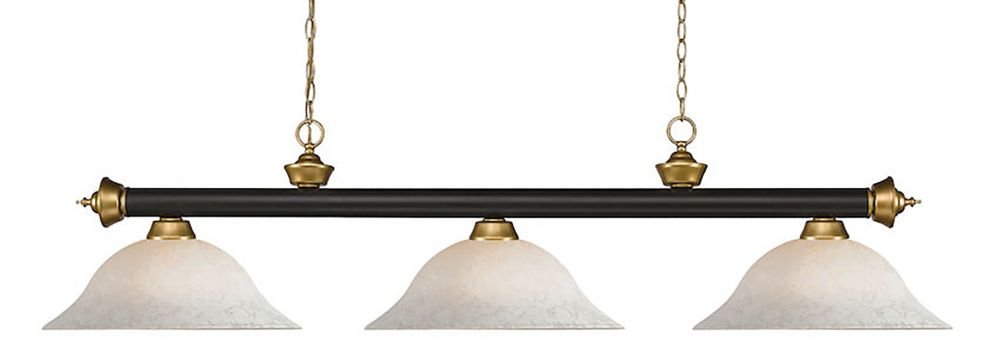 Filament Design 3-Light Bronze and Satin Gold Island/Billiard with White Mottle Glass - 59 inch