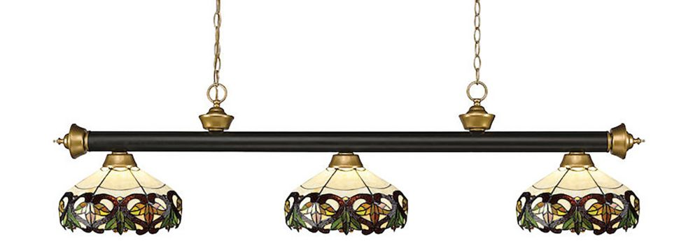 3-Light Bronze and Satin Gold Island/Billiard with Multi Colored Tiffany Glass