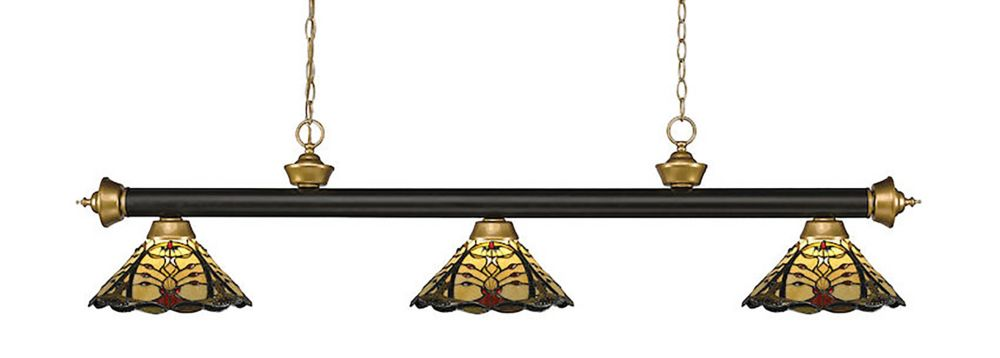 3-Light Bronze and Satin Gold Billiard with Multi Colored Tiffany Glass