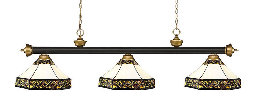 3-Light Bronze and Satin Gold Billiard with Multi Colored Tiffany Glass - 59 inch