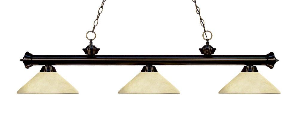 Filament Design 3-Light Bronze Billiard with Golden Mottle Glass Shade - 57 inch