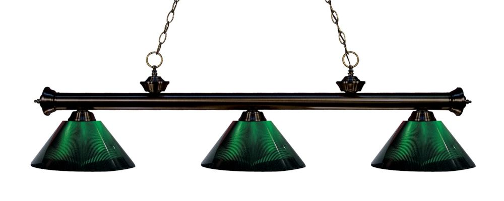 3-Light Bronze Island/Billiard with Green Acrylic Shade - 57 inch